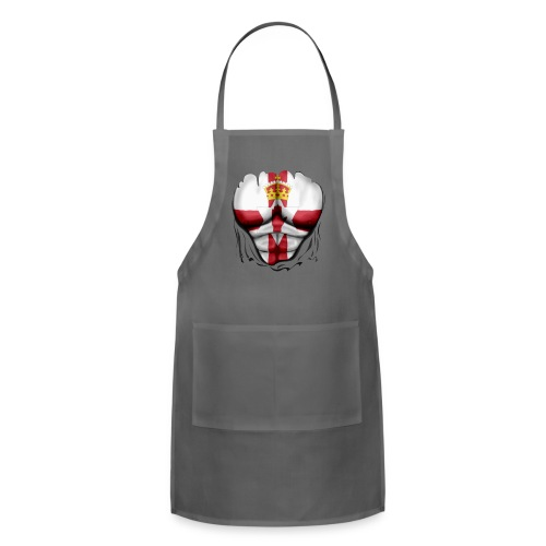 Northern Ireland Flag Ripped Muscles, six pack, chest t-shirt - Adjustable Apron