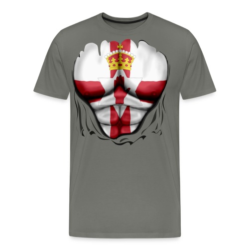 Northern Ireland Flag Ripped Muscles, six pack, chest t-shirt - Men's Premium T-Shirt