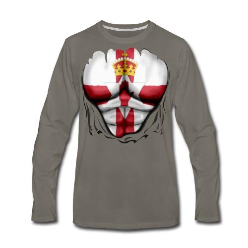 Northern Ireland Flag Ripped Muscles, six pack, chest t-shirt - Men's Premium Long Sleeve T-Shirt