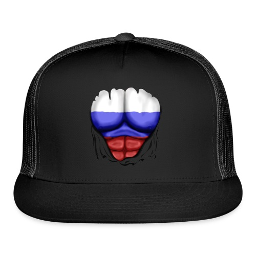 Russia Flag Ripped Muscles, six pack, chest t-shirt - Trucker Cap
