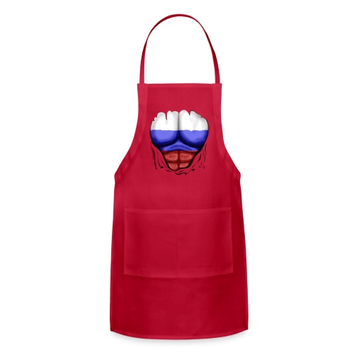 Russia Flag Ripped Muscles, six pack, chest t-shirt - Adjustable Apron