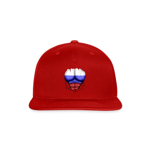 Russia Flag Ripped Muscles, six pack, chest t-shirt - Snap-back Baseball Cap
