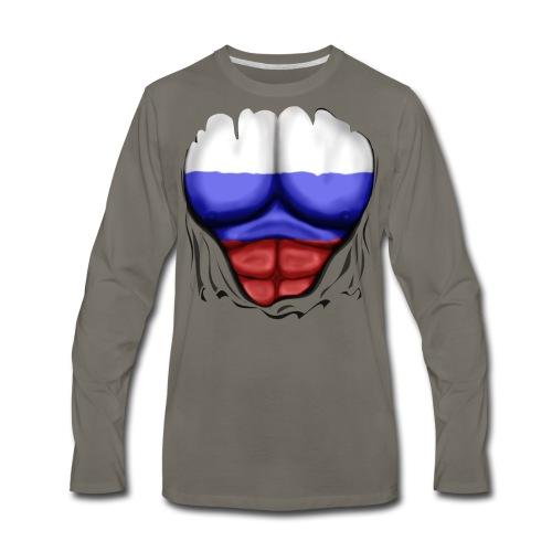 Russia Flag Ripped Muscles, six pack, chest t-shirt - Men's Premium Long Sleeve T-Shirt