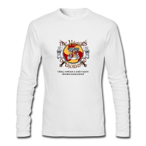 Small Vikings of Bjornstad Campaign Button with Tagline - Men's Long Sleeve T-Shirt by Next Level