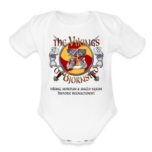 Small Vikings of Bjornstad Campaign Button with Tagline - Short Sleeve Baby Bodysuit