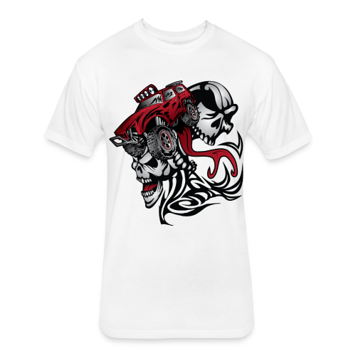 Flamed Skull Truck - Fitted Cotton/Poly T-Shirt by Next Level