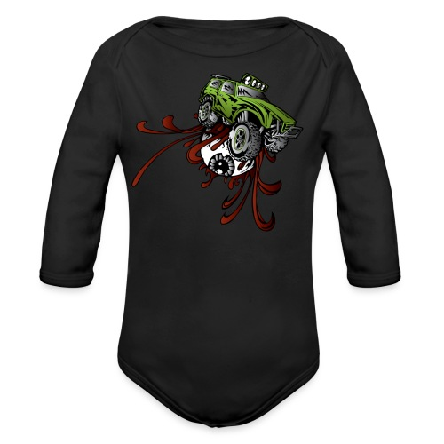 Eyeball Rupture Truck - Organic Long Sleeve Baby Bodysuit