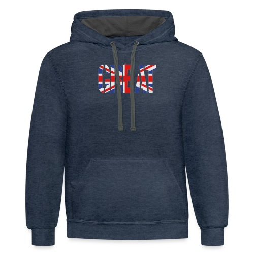 Great Britain Flag, British Flag, Union Jack, UK Flag - Contrast Hoodie