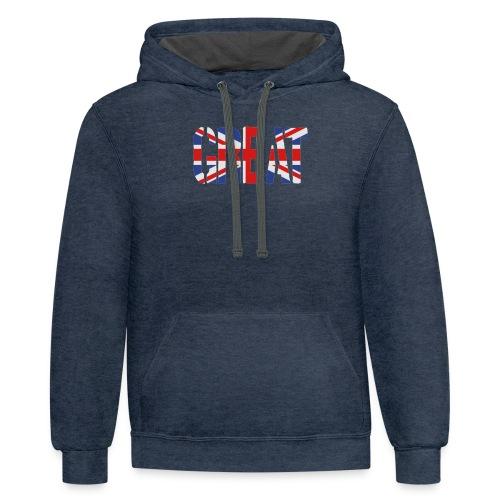 Great Britain Flag, British Flag, Union Jack, UK Flag - Contrast Hoodie