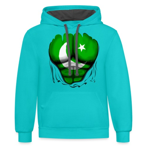 Pakistan Flag Ripped Muscles, six pack, chest t-shirt - Contrast Hoodie