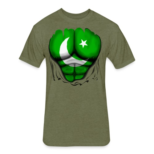 Pakistan Flag Ripped Muscles, six pack, chest t-shirt - Fitted Cotton/Poly T-Shirt by Next Level