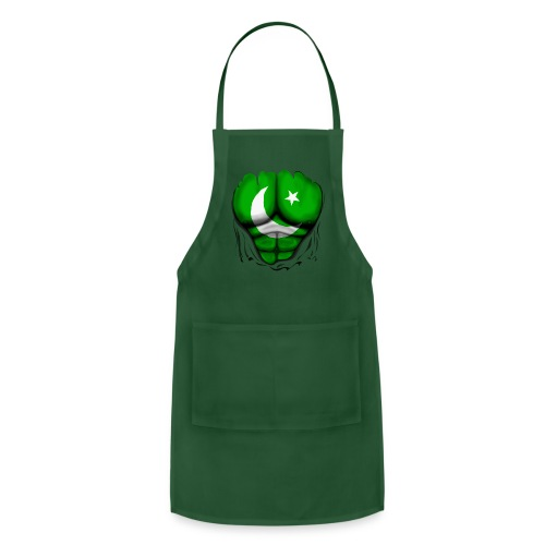 Pakistan Flag Ripped Muscles, six pack, chest t-shirt - Adjustable Apron