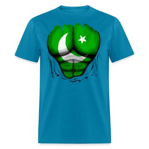 Pakistan Flag Ripped Muscles, six pack, chest t-shirt - Men's T-Shirt