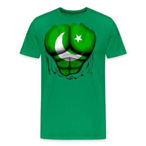 Pakistan Flag Ripped Muscles, six pack, chest t-shirt - Men's Premium T-Shirt