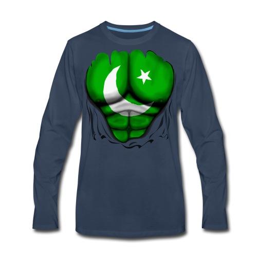Pakistan Flag Ripped Muscles, six pack, chest t-shirt - Men's Premium Long Sleeve T-Shirt