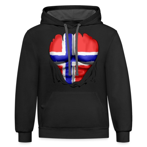 Norway Flag Ripped Muscles, six pack, chest t-shirt - Contrast Hoodie