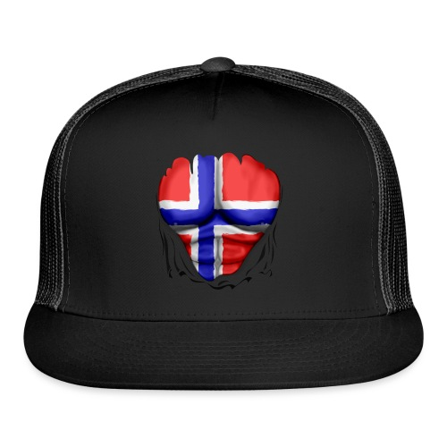 Norway Flag Ripped Muscles, six pack, chest t-shirt - Trucker Cap