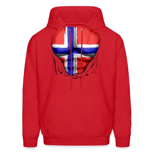 Norway Flag Ripped Muscles, six pack, chest t-shirt - Men's Hoodie