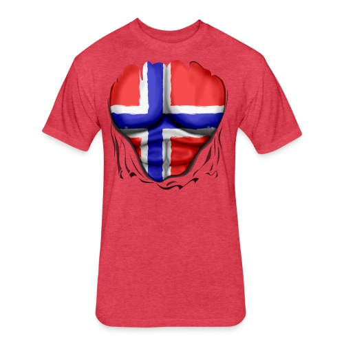 Norway Flag Ripped Muscles, six pack, chest t-shirt - Fitted Cotton/Poly T-Shirt by Next Level