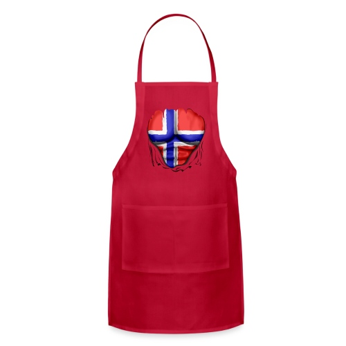 Norway Flag Ripped Muscles, six pack, chest t-shirt - Adjustable Apron