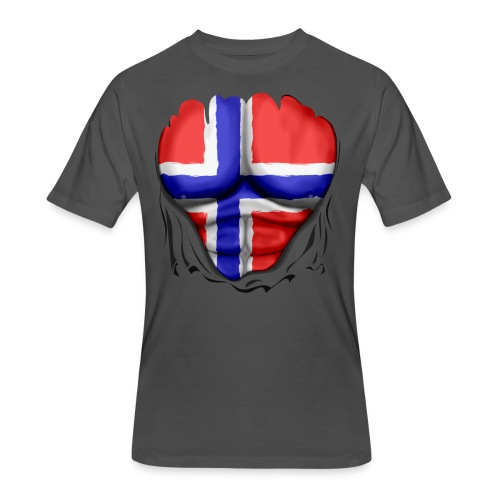 Norway Flag Ripped Muscles, six pack, chest t-shirt - Men's 50/50 T-Shirt