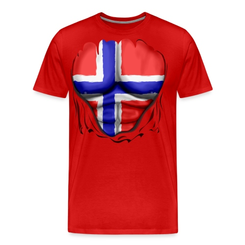 Norway Flag Ripped Muscles, six pack, chest t-shirt - Men's Premium T-Shirt