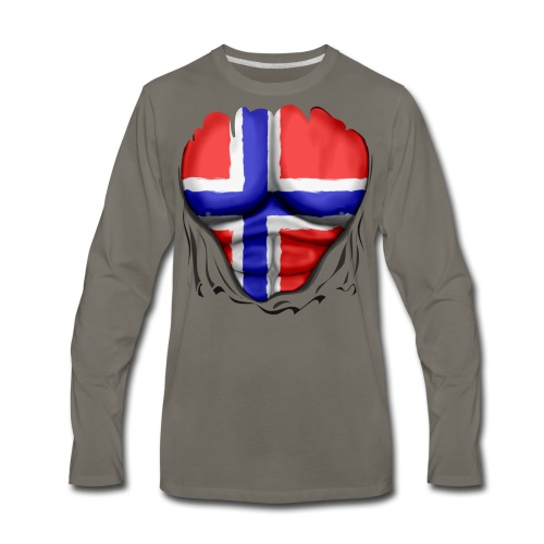 Norway Flag Ripped Muscles, six pack, chest t-shirt - Men's Premium Long Sleeve T-Shirt