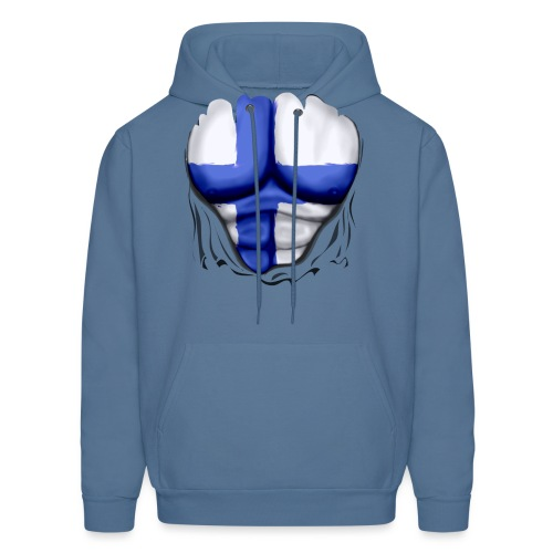 Finland Flag Ripped Muscles, six pack, chest t-shirt - Men's Hoodie