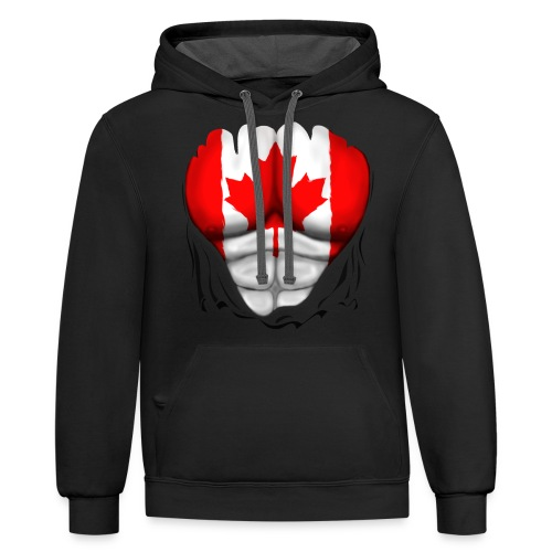 Canada Flag Ripped Muscles, six pack, chest t-shirt - Contrast Hoodie