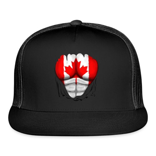 Canada Flag Ripped Muscles, six pack, chest t-shirt - Trucker Cap