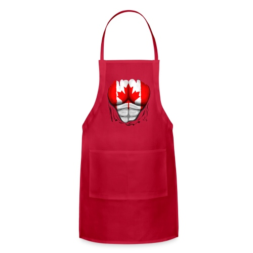 Canada Flag Ripped Muscles, six pack, chest t-shirt - Adjustable Apron