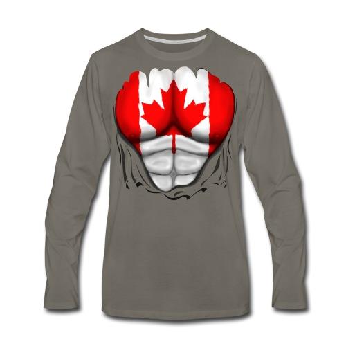 Canada Flag Ripped Muscles, six pack, chest t-shirt - Men's Premium Long Sleeve T-Shirt