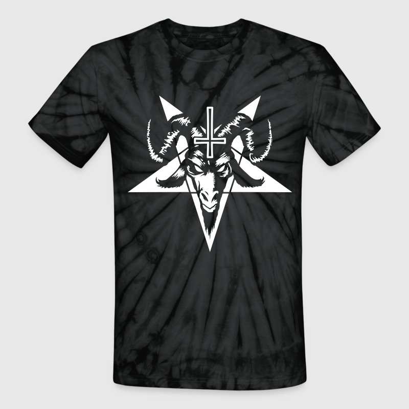 Satanic Goat Head with Pentagram (inverted) T-Shirts - Unisex Tie Dye T-Shirt