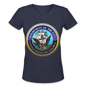 US Navy (USN) Seal - Women's V-Neck T-Shirt