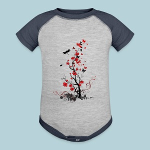 Red and Black Fl0wers Women's T-Shirts - Baby Contrast One Piece