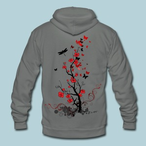 Red and Black Fl0wers Women's T-Shirts - Unisex Fleece Zip Hoodie by American Apparel