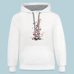 Red and Black Flowers - Contrast Hoodie