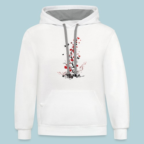 Red and Black Flowers - Contrast Hoodie