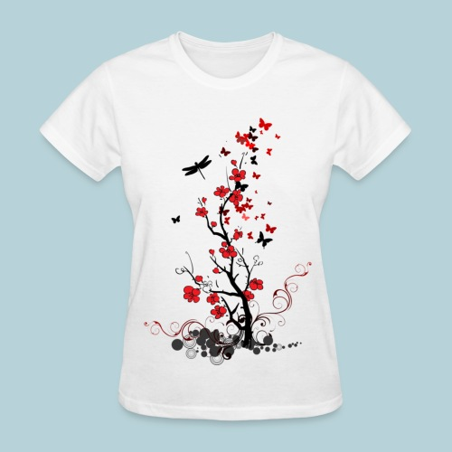 Red and Black Flowers - Women's T-Shirt