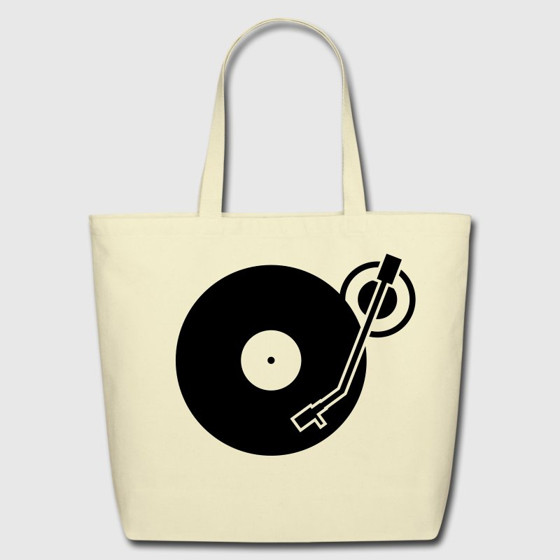 headphones record disc platter disk dj record play techno minimal Bags  - Eco-Friendly Cotton Tote