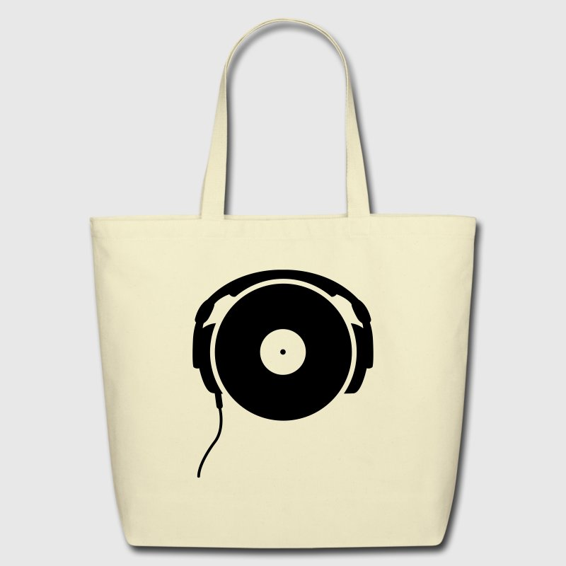 DJ turntable music dance techno club headphone spinning vinyl record vinyl minimal detroit bass sound Bags  - Eco-Friendly Cotton Tote
