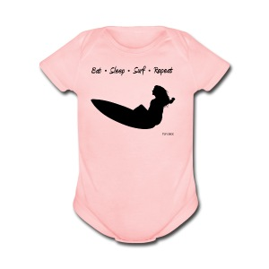 Eat Sleep Surf Repeat - Women  - Short Sleeve Baby Bodysuit