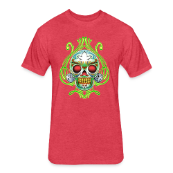 C-120 DoD Fire Skull Tee - Fitted Cotton/Poly T-Shirt by Next Level