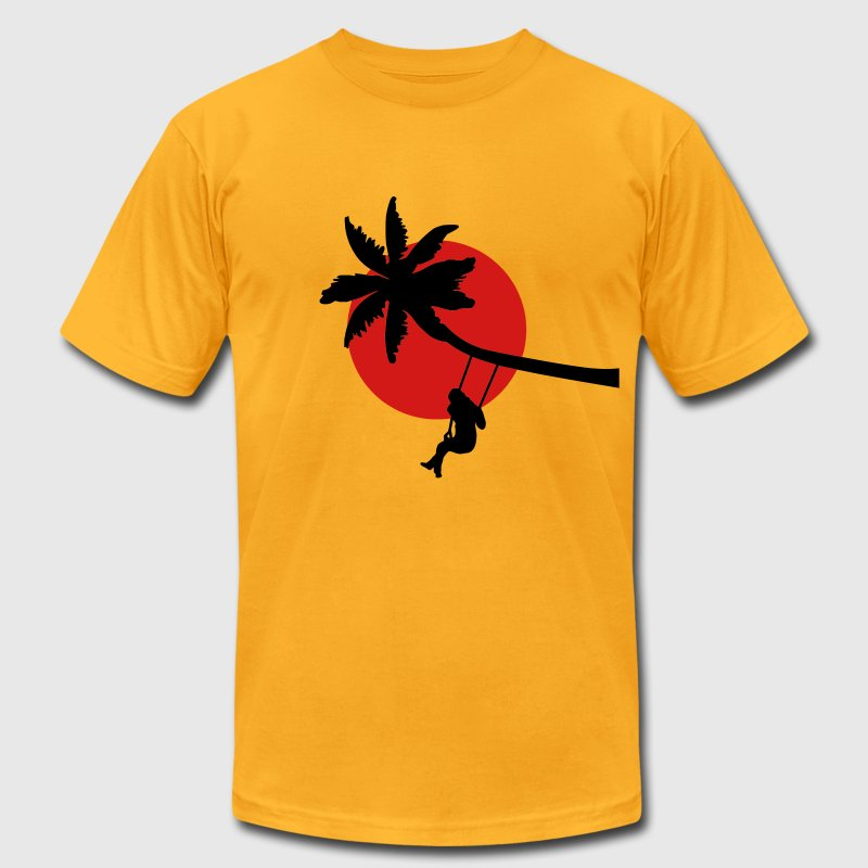 Palm tree sunset swings holiday freedom T-Shirts - Men's T-Shirt by American Apparel