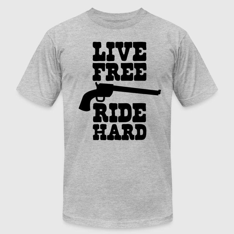 live free ride hard T-Shirts - Men's T-Shirt by American Apparel