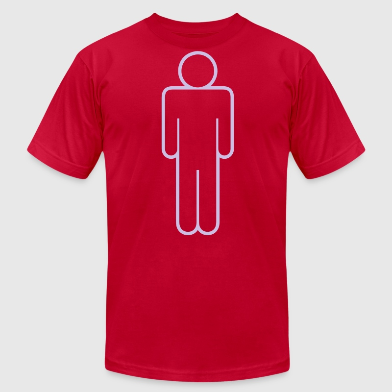 simple man male mens toilet door shape outline T-Shirts - Men's T-Shirt by American Apparel