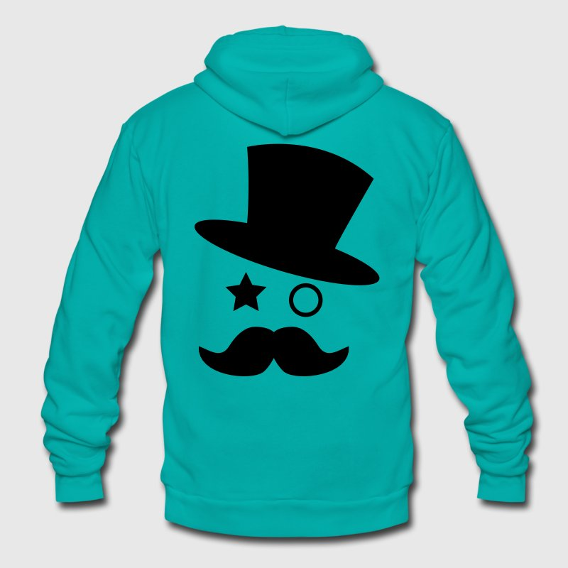 top hat and monocle with mustache Zip Hoodies/Jackets - Unisex Fleece Zip Hoodie by American Apparel