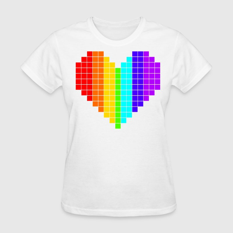 Rainbow Squared Heart shirt - Women's T-Shirt