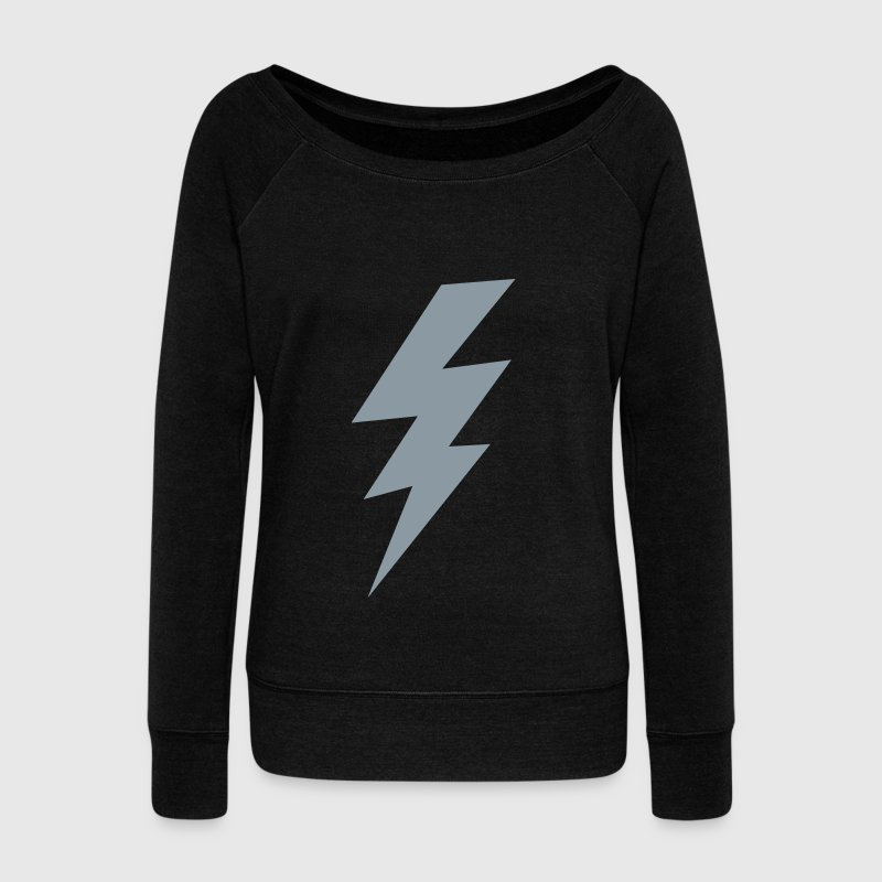thunder lightning bolt flash Long Sleeve Shirts - Women's Wideneck Sweatshirt