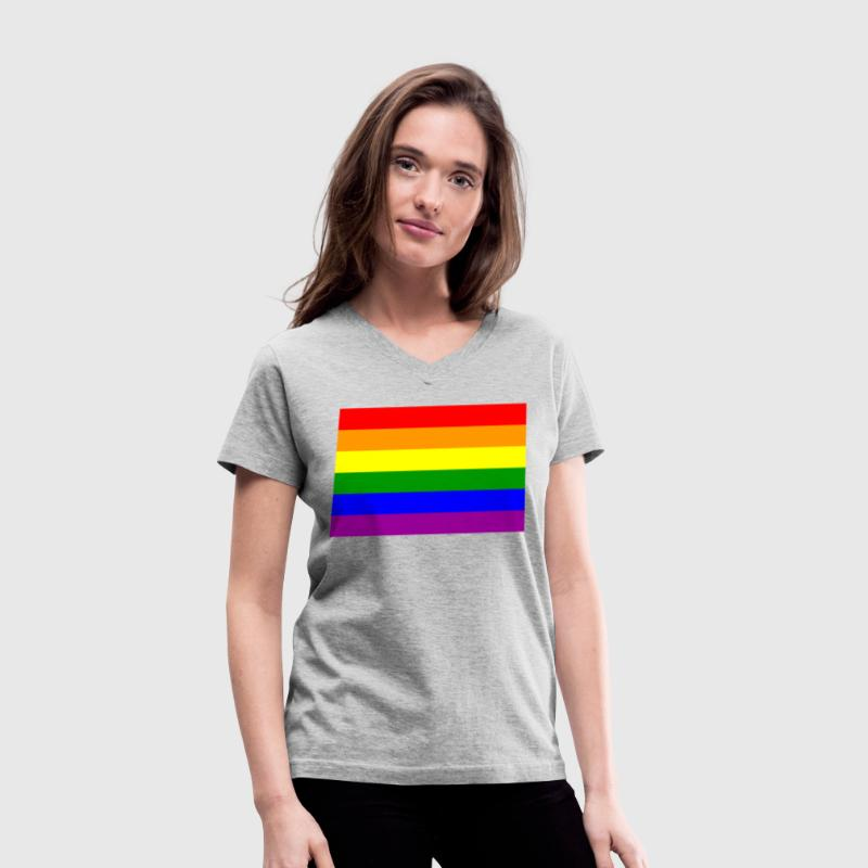 Gay Pride Rainbow Flag Women's V-Neck - Women's V-Neck T-Shirt